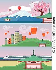 japón, viajar, banner., japonés, señales