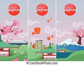 japón, viajar, banner., señales, japonés