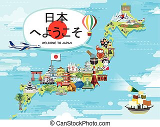 japón, viaje, diseño, mapa