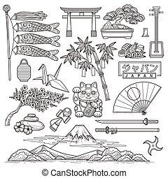 japón, viaje, elementos, colección