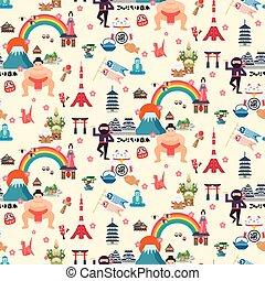 japón, viaje, seamless, patrón