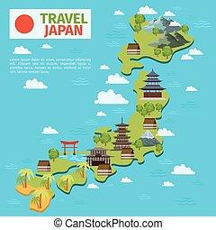 japón, viaje, vector, mapa, con, tradicional, japonés, señales