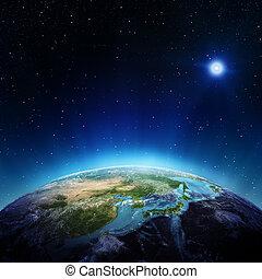 japón, y, china, de, espacio