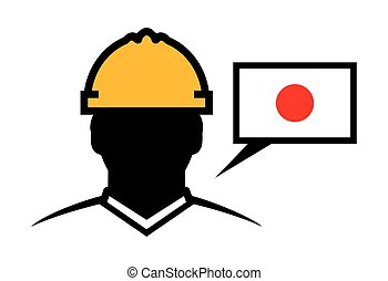 japan, aannemer, vector, pictogram