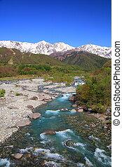 japan, alperna, och, flod