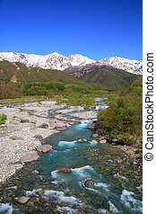 Japan Alps and river - Mt. Shiroumadake and Matsukawa River ...
