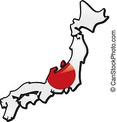 Japan - An artistic rentering of this country's map and flag