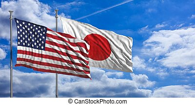 Japan and America waving flags on blue sky. 3d illustration
