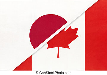 Japan and Canada, symbol of two national flags. Relationship between Asian and American countries.
