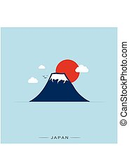 Japan and Fuji Mountain, Travel Landmark. Vector illustration