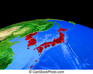 Japan and Korea from space on Earth