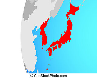 Japan and Korea on globe