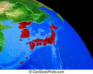 Japan and Korea on planet Earth