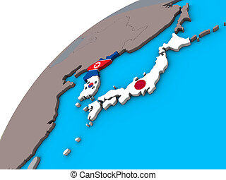 Japan and Korea with flags on 3D globe