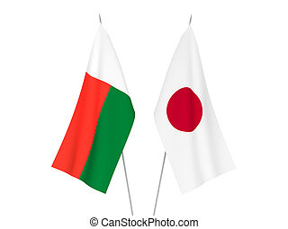 Japan and Madagascar flags - National fabric flags of Japan ...