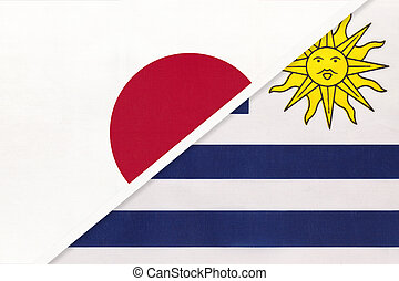 Japan and Uruguay, symbol of two national flags. Relationship between Asian and American countries.
