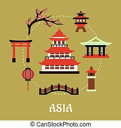 Japan travel infographic in flat style showing traditional japanese pagoda with red roof surrounded by blossoming branch of sakura, torii gate, paper lantern, temple and bridge on green background with text Asia