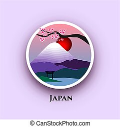 Japan badge - Japanese landscape with Mount Fuji and cherry...