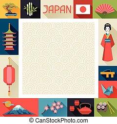 japan, baggrund, design.