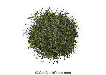 Japan Bancha Arashiyama green tea isolated on white
