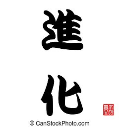 Japan Calligraphy represents Evolution of living things or mindset