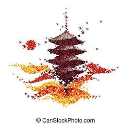 Japan castle autumn landscape - abstract background vector