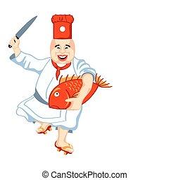 Japan chef - Joyful japanese sushi chef with anxious big...