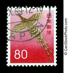 JAPAN - CIRCA 1965: A stamp printed in Japan shows image of a game bird, copper pheasant , circa 1965