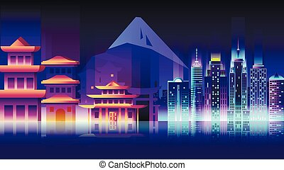 Japan city night neon style architecture buildings town country travel