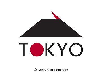 Japan city Tokyo logo with rising sun symbol.