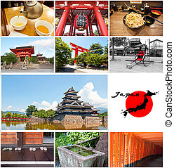 Japan collage - Photography Collage of monument in Japan