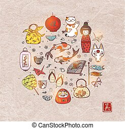 Japan colored doodle sketch elements background on vintage rice paper. Symbols of Japan. Contains hieroglyphs - well-being, beauty
