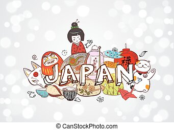 Japan colored doodle sketch elements background on white. Symbols of Japan. Contains hieroglyph - well-being