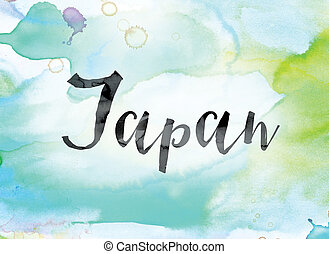 Japan Colorful Watercolor and Ink Word Art