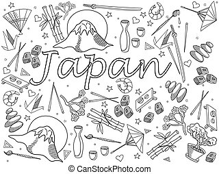 Japan coloring book vector illustration