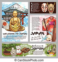 Japan culture and history tradition sketch symbols - Japan...
