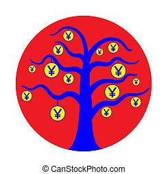 Japan currency tree vector