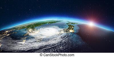 Japan cyclone. 3d rendering