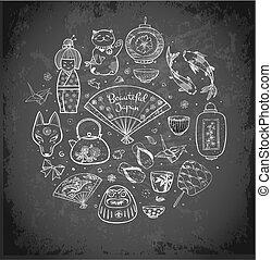 Japan doodle sketch elements on blackboard background. Symbols of Japan. Contains hieroglyph - zen.