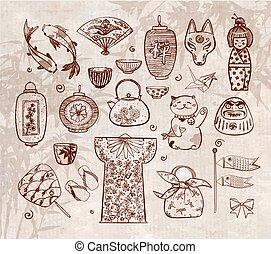 Japan doodle sketch elements on vintage background
