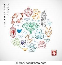 Japan doodle sketch elements. Symbols of Japan.