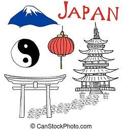 Japan doodles elements. Hand drawn