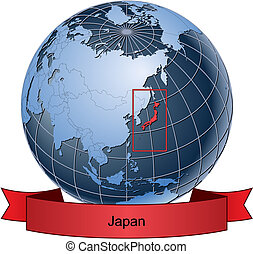 Japan, position on the globe Vector version with separate...