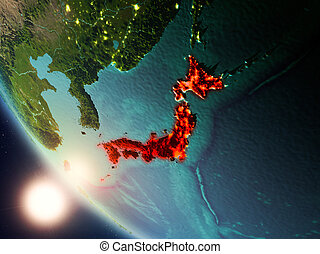 Japan during sunset on Earth