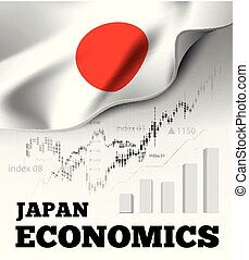 Japan economics vector illustration with japanese flag and business chart, bar chart stock numbers bull market, uptrend line graph symbolizes the growth