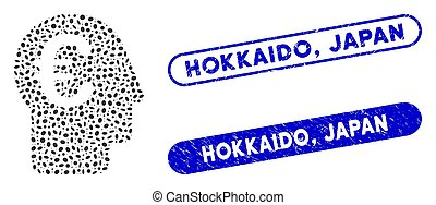 japan, elliptisch, postzegels, hokkaido, collage,...