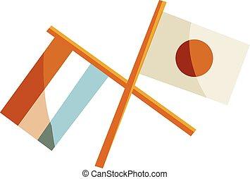 japan, en, nederland, vlaggen, pictogram, spotprent, stijl