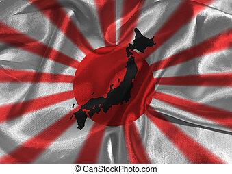 Japan flag 3D illustration symbol
