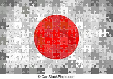 Japan flag made of puzzle background