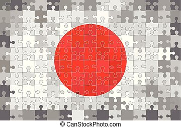 Japan flag made of puzzle background.eps